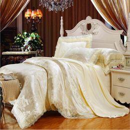 Wholesale White Cotton Lace Sheet - European Style Beige Jacquard Satin Bedding Set Silk Cotton Lace Duvet Cover King Queen Bedclothes Bed Sheet Pillowcases 4 6Pcs