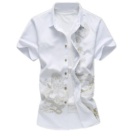 Wholesale Chinese Top Blouse - Handsome Man White Retro Blouse Chinese Style Dragon Printed Male Blusa Tide Boy Club Shirt Novelty Boys Tops Turn-down Collar