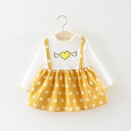 girls polka party dress Promo Codes - Children Autumn Long Sleeve Baby Infants Girls Kids Printed Heart Dot Polka Faux 2pcs Party Princess Tutu Dress Vestidos S7164
