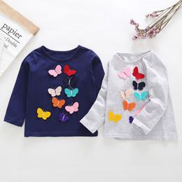 2019 chemises à manches papillon pour filles Vêtements enfant filles t-shirt à manches longues stéréo t-shirt papillon enfants causal 100% coton bébé enfants automne vêtements