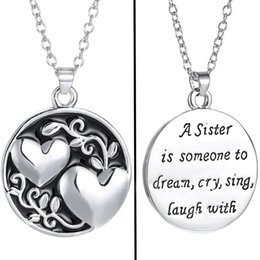 Wholesale Heart Dreams - Letters A Sister is Someone to Dream Heart Necklace Enamel Heart Love Pendant Chain Best Sisters Fashion jewelry Drop Shipping