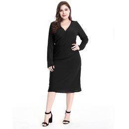 2018 New Autumn V Neck Party Dress Plus Size 5XL Abito al ginocchio elegante maniche a fascia completa abiti casual cheap sleeved full length dresses da maniche lunghe fornitori