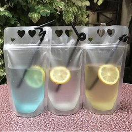 Wholesale Plastic Disposable Food Containers - 450ml Transparent Self-sealed Plastic Heart Beverage Bag DIY Drink Container Drinking Bag Fruit Juice Food Storage ZA5672