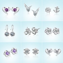 Wholesale fashion wings - Crystal Rhinestone Stud Earrings Flower Star Wings Crown Heart Flower Shape Earrings Fashion Jewelry for Women Drop Shipping