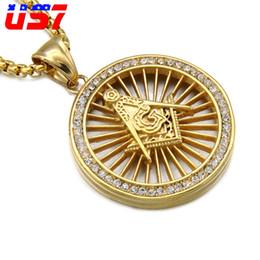 colgantes masónicos de oro Rebajas US7 Hip Hop Bling Gold Masonic Masonería Collares pendientes Collar Redondo de Cristal de Acero Inoxidable Para Los Hombres Joyería Hiphop