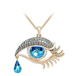 Wholesale Crystal Eye Necklace - Wholesale-1Pc Fashion Evil Eye Teardrop Crystal Rhinestone Pendant Long Chain Necklace Women's Jewelry Gift