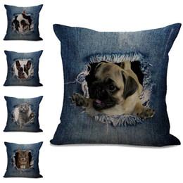 almofadas de almofadas para cão Desconto Rasgado Jean Cat Cão Fronha Capa de Almofada de algodão de linho Jogue Praça Fronha Fronha Casa Decorativa Drop Ship 300738