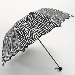 Wholesale Popular Coats - Zebra Design 3 Fold Sun Rain Umbrellas Black Coating Sunny and Rainy Protect Umbrella For Woman Female Popular ZA6452