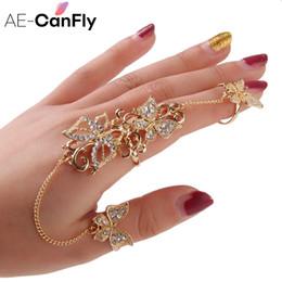 Dedo armadura anéis mulheres on-line-Strass Flor Borboleta Anéis de Dedo Cheias para As Mulheres de Ouro Chian Link Duplo Armadura Anel Atacado 1D2011