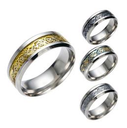 toca dragões chineses Desconto Aço inoxidável prata dragão de ouro projeto anel de dedo anéis de banda anel de dragão chinês para as mulheres homens amantes anel de casamento 4 cores