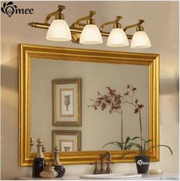 Lampes en verre vintage en Ligne-Vintage LED lampes de mur abat-jour en verre, lampes de miroir de vanité de salle de bains classique américain Accueil bronze intérieur éclairage mural