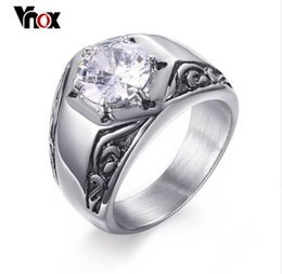 Wholesale stainless ring fleur lis - Vnox Fleur-de-lis Pattern AAA Stone Ring for Women Men Stainless Steel Casting Male Punk Rocky Hip hop Jewelry
