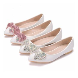 Wholesale Rhinestone Loafers - New Fashion Women Flats White Color Multi Crystal Bowtie Pointed Toe Flat Pink wedding shoes Plus Size