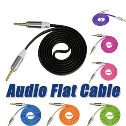 flat mp3 Promo Codes - 3.5mm Male to Male Stereo Jack Plug Audio Flat Cable 1m 3ft cables For iphone7 7plus ipod PC MP3 MP4