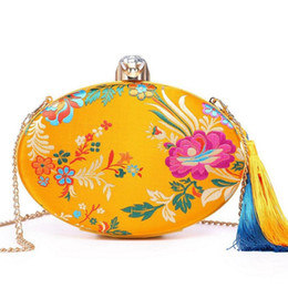 chinese clutch bags 2018 - Luxury Brand Designed Fashion Women Purse Bags 2018 Ethnic Flower Embroidery Chain Clutches Bag With Tassel Drop Shipping
