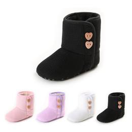 Wholesale Boots For Infants - 2017 New Warm Prewalker Boots Toddler Girl Boy Crochet Knit Snow boots fur lovely infant first walker soft shoes for 0-1T