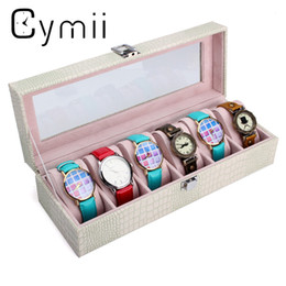 Wholesale Jewelry Box Glass Top - Cymii 6 Slot Watch Box Leather Display Glass Top Jewelry Bracelet Case Organizer Gift White