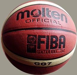 Leder geschmolzen online-Heißes geschmolzenes GG7X / GL7X / GG7 PU-Leder-Basketball im Freien Innengröße 7 # PU-Leder-Basketball-Ball-Trainings-Korb-Ball-Netz + Ball-Nadel
