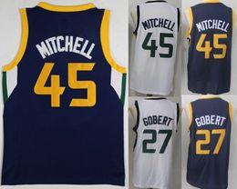 Wholesale Cheap 45 - 2018 New Men 45 Donovan Mitchell 27 Rudy Gobert 100% Stitched Jerseys Swingman Cheap College mixed Order size S-XXL