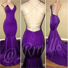 Wholesale Draped Halter - Sexy Purple 2018 New Fashion Mermaid Prom Dresses Halter Neck Backless Court Train Evening Party Gowns Custom Made Cheap Simple Women Gown