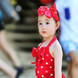 Cabelo de onda da princesa on-line-Adorável Bebê Meninas Princesa Onda Pontos De Biquíni Maiô Com Faixa de Cabelo De Uma Peça Lote Bebê Swimwear Meninas Natação Maiô