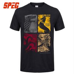 Wholesale game thrones 4xl - Game Of Thrones Vintage T-shirts Hommes T Chemise TV Série Maison Stark Targaryen 100% Coton T-Shirt Lannister Hommes Famille Plus La Taille