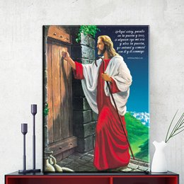 Wholesale Painting Canvas Jesus - modern decorative canvas art Jesus knocking the door canvas pictures oil art painting for livingroom bedroom decoration No Frame