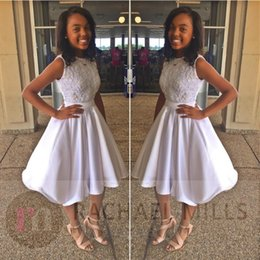 Wholesale coctail prom dress - 2018 sexy cheap elegant plus size white short african prom dress coctail dress homecoming dresses