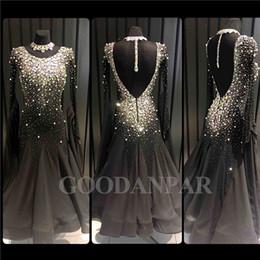 Ballroom Dancing Kleid Neueste Design Frau Modern Walzer Tango Dance Kleid Standard sexy schwarz Langarm Spandex von Fabrikanten