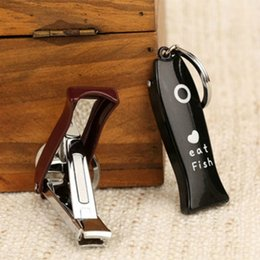 Wholesale Fishing Nail - Cute Cartoon Stainless Steel Fish Nail Clipper with File Folded Nail Cutter Nails Care Tools for Fingers