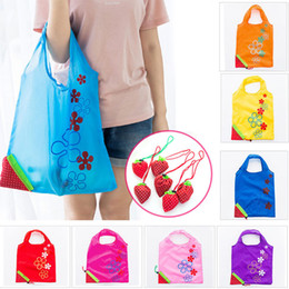 Wholesale nylon fabric roll - 11Colors Newest Nylon Foldable Strawberry Shopping Bag Reusable Storage Handbag Colorful Household Shopping Bags Totes 51*37cm HH7-1051