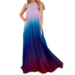 a78df65c9f9 2019 ombre falten 2018 Sexy Frauen Backless Maxi Kleid Ombre Plissee  Sleeveless Sommer Neckholder Lange Maxi