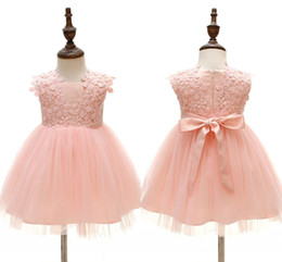 Canada Flower Pink First Communion Dress 2019 White Ball Gowns Short Baby Party Birthday Cheap Little Flower Girl Dress With Bow 3M 6M 12M 19M 24M Offre