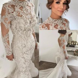 Wholesale Lace Bling Wedding Dresses - Designer Bling Bling Beaded Wedding Dresses Mermaid High Neckline Long Sleeves Sweep Train Bridal Gowns Custom Made