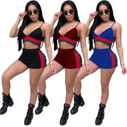 Wholesale womens fashion cardigans - fashion Summer Womens Tracksuits with Shorts Striped and Navel Sexy Night Club Women Clothing Sets Girls Casual Sport Suits
