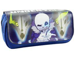 Argentina anime 2018 Legend of Undertale Comestic Bags Estuches de pluma Skull Brothers Juego Personajes Double Zipper Pencil Stationery Bag Men cheap character cases Suministro