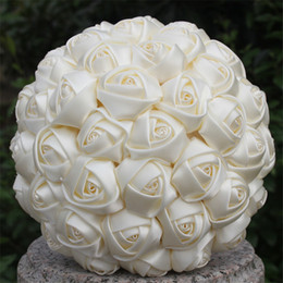 Wholesale Cheap Red Bridal Bouquets - Wholesale-Free Shipping Cheap Marfim Ivory Silk Bridal Bouquet Different Size for Flower Girl Bridesmaid Bride Satin Holding Flower W223-5