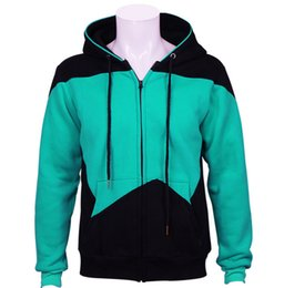 Wholesale star trek uniforms - Star Trek Hoodies Cosplay Star Trek Green Casual Zipper Sweatshirts Coat Uniform Halloween Christmas Gift Hoodies