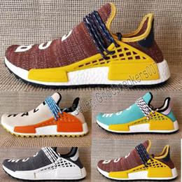 Wholesale tracking shoe - New Body Track Running Shoes Mesh elasticity Men Women Pharrell Williams HU Runner Nerd core Black White Red damping sneakers shoes EUR36-47
