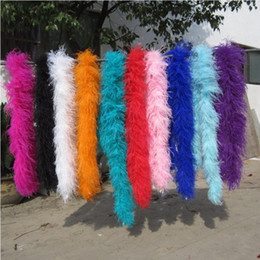 Wholesale Wholesale Ostrich Feathers Boas - 2pcs 200cm pcs white black orange red pink blue green purple ostrich Feather Boas for wedding party event supply