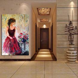 Rose rosse muro floreale online-Dipinto a mano Modern Wall Art Coltello Pittura ad olio Donna Romantica Figura Red Roses Impressionista Canvas Home Decor