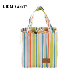 Wholesale Insulated Case - QICAI.YANZI 2017 Colorful Insulated Cold Bolsa Termica Canvas Stripe Picnic Carry Case Thermal Portable Lunch Bag Lancheira P171