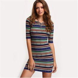 Wholesale Half Tights - US fashion striped colorful print dresses Crew neck Half sleeve slim Cotton Polyester Blend Backless Tight waist sexy mini dress