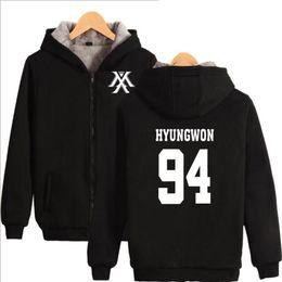 Wholesale Korean Clothing Brands Women - Korean Fashion KPOP VIXX Women Hoodies Sweatshirts Brand Clothing Winter Thickened Warm Hooded Jackets Coat Female Hoody Moletom