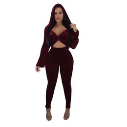 417fbf4b069 2018 Autumn Winter Velvet Women Sets Crop Top Hoodie And Skinny Pant Sweat Suits  Sets Velvet Tracksuit 2 Piece Pants Set