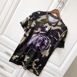 Wholesale Mens Camouflage Shirt Xl - 2018 New Arrival Summer Luxury Style Mens Short Sleeve t shirt mens camouflage Roar orangutan star designer T Shirts casual cotton cloth