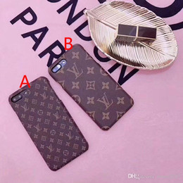 Wholesale Customized Letter - Luxury brand printing pattern letters Leather texture phone case for iphone 7 7plus 8 8plus hard back cover for iphone 6 6S 6plus