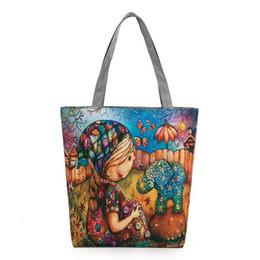 Wholesale Little Girls Pink Handbag - Cute little girl printed women handbag elephant leave printing canvas female shoulder bags Europe and America style tote