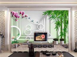 3d personalizzato foto wallpaper murale soggiorno orchidea di bambù paesaggio foto pittura divano TV sfondo muro non tessuto wall sticker supplier live bamboo da bambù vivo fornitori