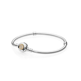 pandora gold Promo Codes - Sterling Silver Women Bracelets White Micro Paved Round Bracelet Logo Stamped for Pandora European Charms Beads Jewelry with box